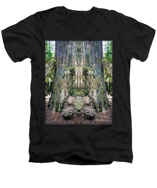 Men's V-Neck T-Shirt featuring the photograph Redwood Tree Face by Martin Konopacki