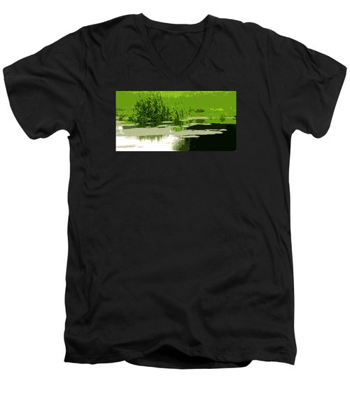 Men's V-Neck T-Shirt featuring the photograph Reeds At The  Pond by Spyder Webb