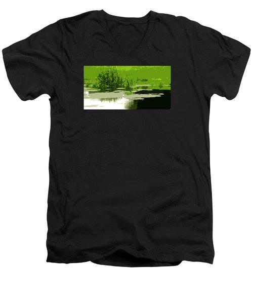 Reeds At The  Pond Men's V-Neck T-Shirt