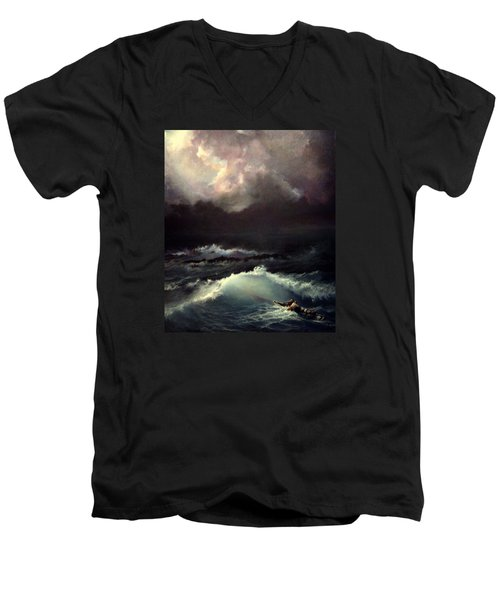 Men's V-Neck T-Shirt featuring the painting Reef by Mikhail Savchenko