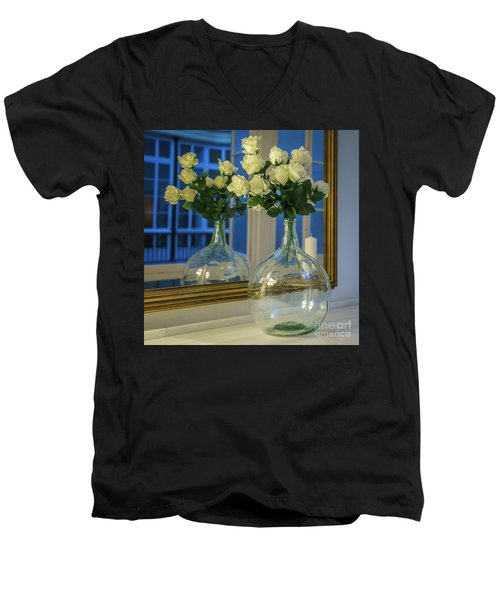 Men's V-Neck T-Shirt featuring the photograph Reflected Demijohn Cadiz Spain by Pablo Avanzini
