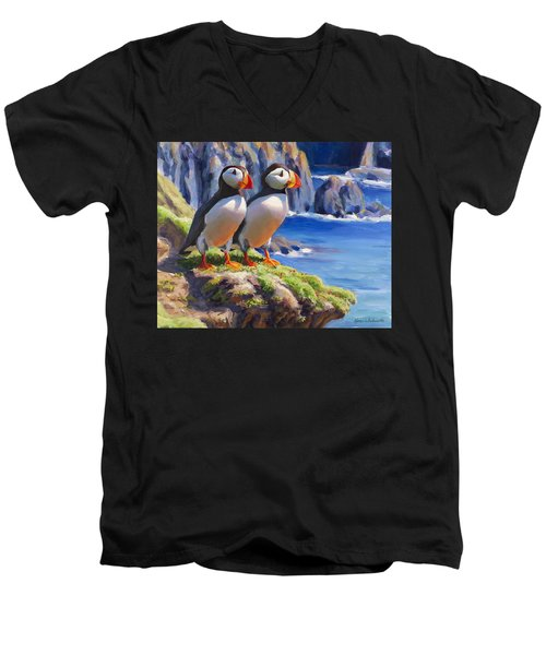 Horned Puffin Painting - Coastal Decor - Alaska Wall Art - Ocean Birds - Shorebirds Men's V-Neck T-Shirt