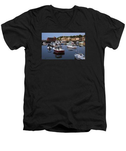Reflection At Rockport Harbor Men's V-Neck T-Shirt