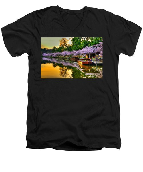 Reflection In Gold Men's V-Neck T-Shirt by Midori Chan