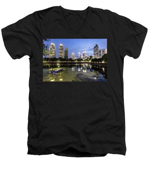 Reflection Of Jakarta Business District Skyline During Blue Hour Men's V-Neck T-Shirt
