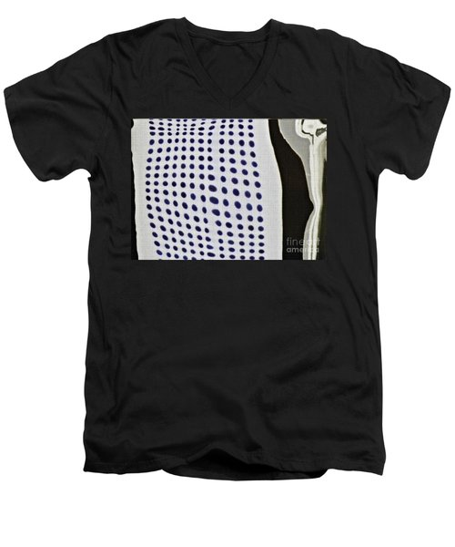 Men's V-Neck T-Shirt featuring the photograph Reflection On 42nd Street 1 Negative by Sarah Loft