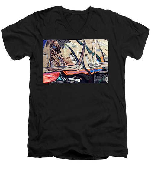 Men's V-Neck T-Shirt featuring the photograph Reflection On A Parked Car 18 by Sarah Loft