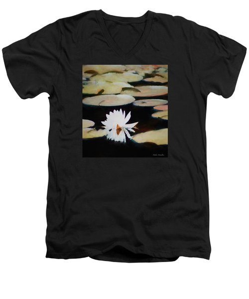 Men's V-Neck T-Shirt featuring the painting Reflection Pond by Debra     Vatalaro