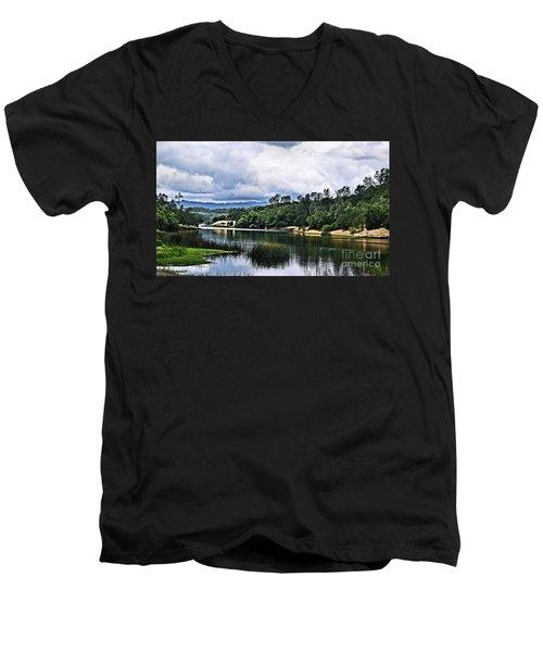 Reflections At Nicasio Reservoir  Men's V-Neck T-Shirt