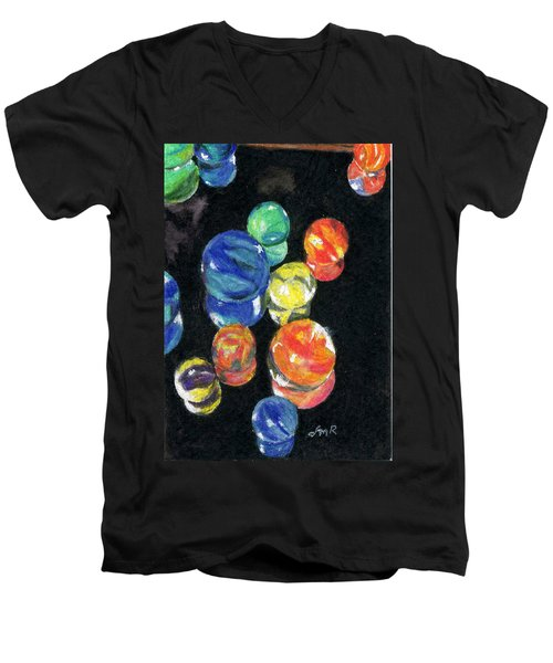 Reflections In Black Men's V-Neck T-Shirt by Lynne Reichhart