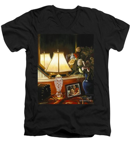 Men's V-Neck T-Shirt featuring the painting Reflections by Marlene Book