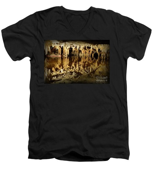 Men's V-Neck T-Shirt featuring the photograph Reflections Of Dream Lake At Luray Caverns by Paul Ward