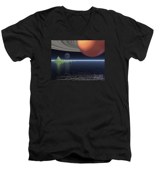 Men's V-Neck T-Shirt featuring the digital art Reflections Of Saturn by Phil Perkins