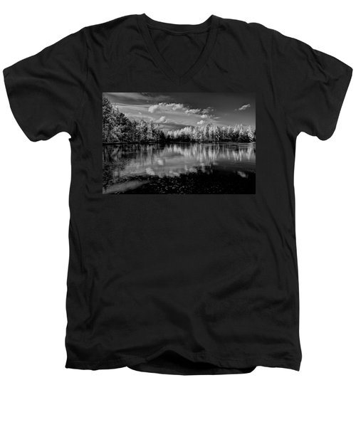 Reflections Of Tamaracks Men's V-Neck T-Shirt by David Patterson
