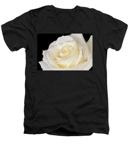 Refreshing Ivory Rose Men's V-Neck T-Shirt by Terence Davis