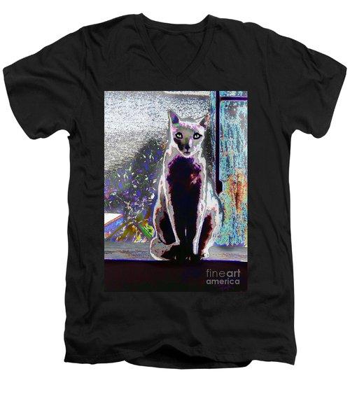 Regal Puss Men's V-Neck T-Shirt by Expressionistart studio Priscilla Batzell
