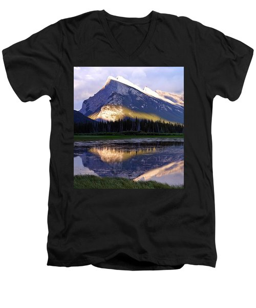 Mount Rundle Men's V-Neck T-Shirt by Heather Vopni