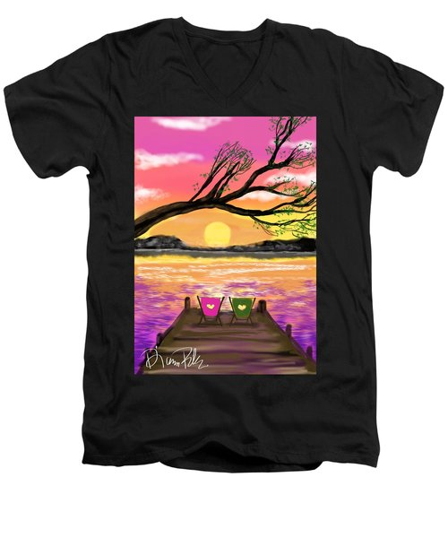 Men's V-Neck T-Shirt featuring the digital art Relaxing On The Dock by Diana Riukas