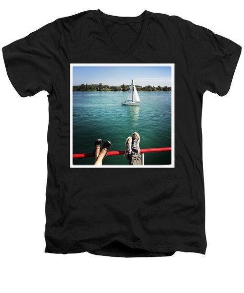 Relaxing Summer Boat Trip Men's V-Neck T-Shirt