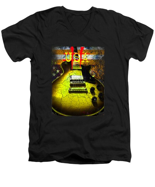 Men's V-Neck T-Shirt featuring the photograph Relic Guitar Music Patriotic Usa Flag by Guitar Wacky
