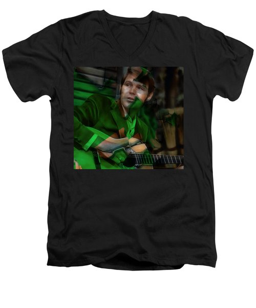 Men's V-Neck T-Shirt featuring the mixed media Remembering Glen Campbell by Marvin Blaine