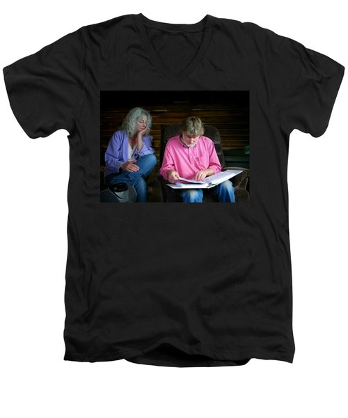 Men's V-Neck T-Shirt featuring the photograph Reminiscing by Lenore Senior
