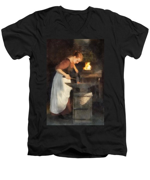 Renaissance Lady Blacksmith Men's V-Neck T-Shirt
