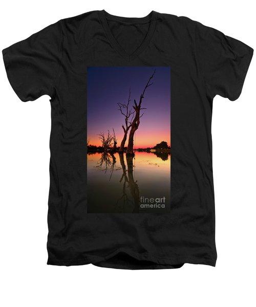 Renmark South Australia Sunset Men's V-Neck T-Shirt by Bill Robinson