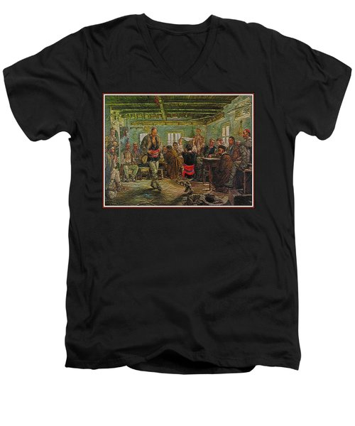 Men's V-Neck T-Shirt featuring the painting replica of Ruchenitsa by Nikola Tanev by Pemaro