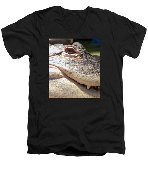 Reptilian Smile Men's V-Neck T-Shirt by KD Johnson
