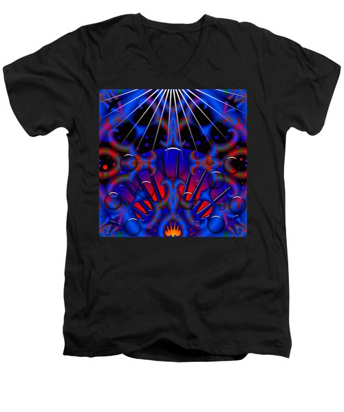 Men's V-Neck T-Shirt featuring the digital art Resist by Robert Orinski