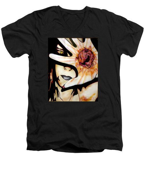 Men's V-Neck T-Shirt featuring the painting Resistance by Tbone Oliver