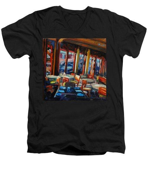 Restaurant On Columbus Men's V-Neck T-Shirt by Rick Nederlof