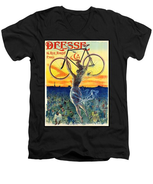 Men's V-Neck T-Shirt featuring the photograph Retro Bicycle Ad 1898 by Padre Art