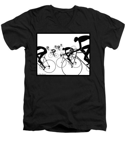 Men's V-Neck T-Shirt featuring the photograph Retro Bicycle Silhouettes 1986 by Padre Art