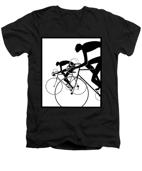 Men's V-Neck T-Shirt featuring the photograph Retro Bicycle Silhouettes 2 1986 by Padre Art