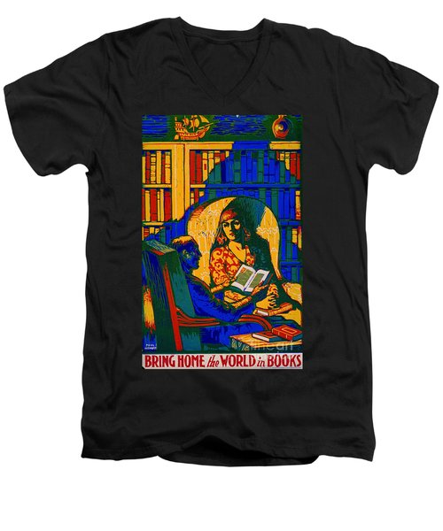 Men's V-Neck T-Shirt featuring the photograph Retro Books Poster 1920 by Padre Art