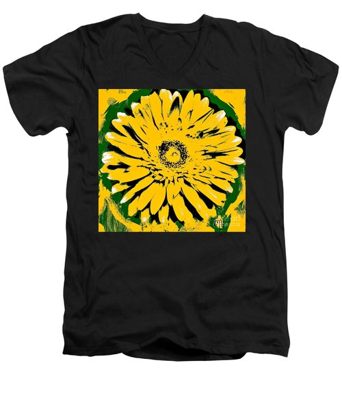 Retro Daisy Men's V-Neck T-Shirt by Marsha Heiken