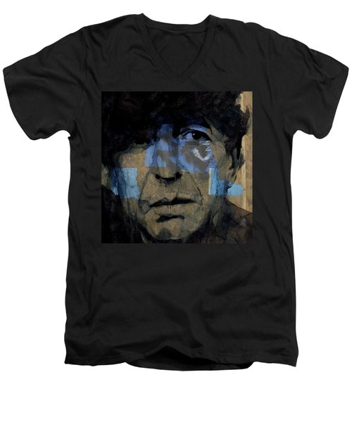 Men's V-Neck T-Shirt featuring the painting Retro- Famous Blue Raincoat  by Paul Lovering