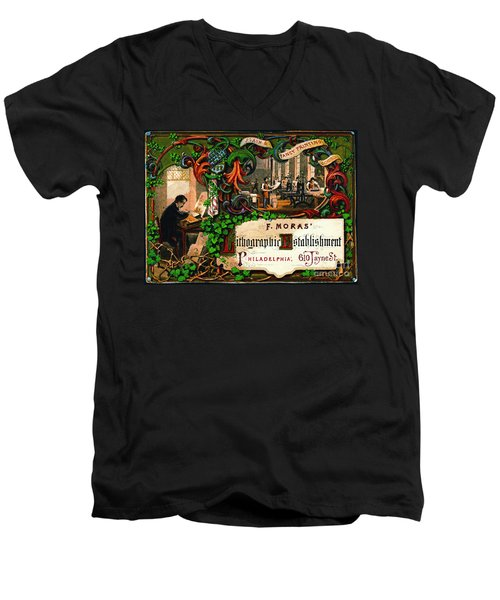 Men's V-Neck T-Shirt featuring the photograph Retro Printing Ad 1867 by Padre Art