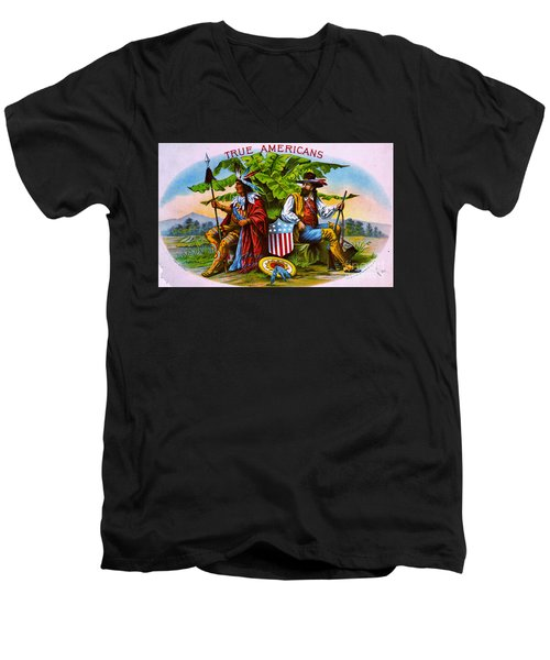 Men's V-Neck T-Shirt featuring the photograph Retro Tobacco 1885 by Padre Art