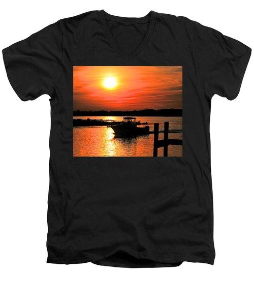 Return At Sunset Men's V-Neck T-Shirt