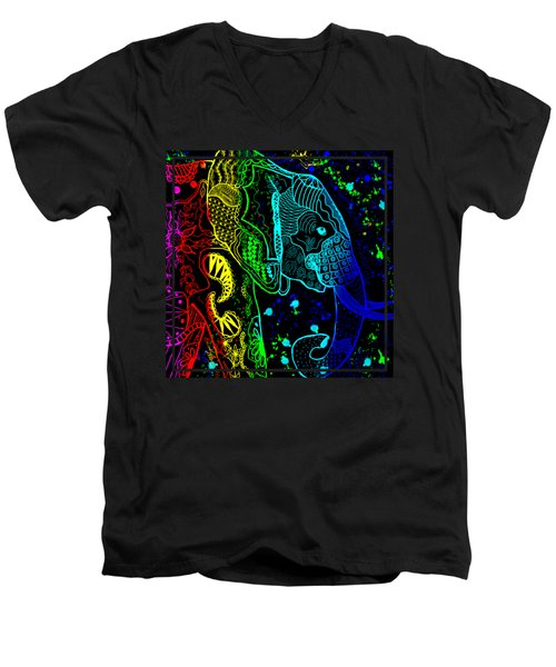 Rainbow Zentangle Elephant With Black Background Men's V-Neck T-Shirt by Becky Herrera