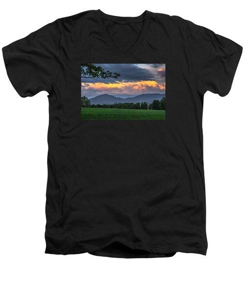 Reverse Sunset Men's V-Neck T-Shirt by Tim Kirchoff