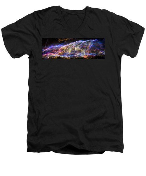 Men's V-Neck T-Shirt featuring the photograph Revisiting The Veil Nebula by Adam Romanowicz