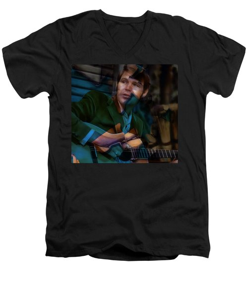Men's V-Neck T-Shirt featuring the mixed media Rhinestone Cowboy Glen Campbell by Marvin Blaine