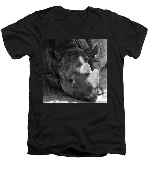 Rhino Nap Men's V-Neck T-Shirt by Alycia Christine