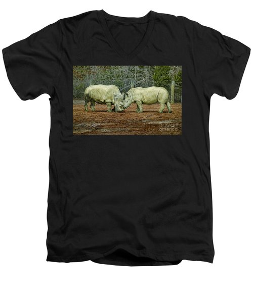 Rhinos In Love Men's V-Neck T-Shirt