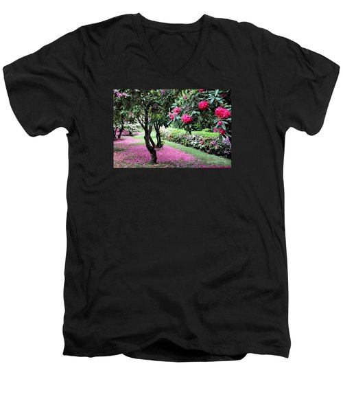 Rhododendrons Blooming Villa Carlotta Italy Men's V-Neck T-Shirt by Tanya Searcy