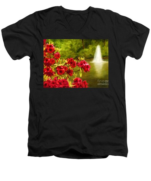 Painted Rhododendrons Fountain In Pond   Men's V-Neck T-Shirt
